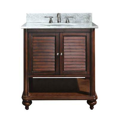 Avanity Tropica Antique Brown 24-Inch Sink Vanity with Carrera White Marble Top
