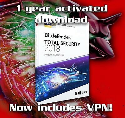 Bitdefender Total Security 2018 - 1 year activation 1 device, download only