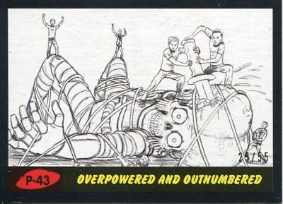 Mars Attacks The Revenge Black [55] Pencil Art Base Card P-43 Overpowered and O