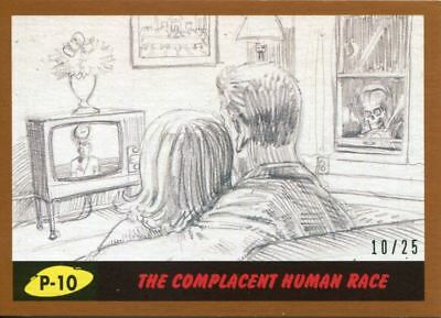 Mars Attacks The Revenge Bronze [25] Pencil Art Base Card P-10 The Complacent H