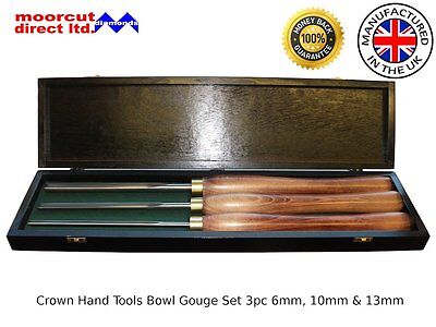 Bowl Gouge Set 3pc Crown Hand Tools 6mm, 10mm & 13mm Chisels Made in Sheffield