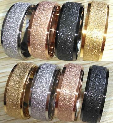 Frosted Black/Gold/Silver/Rose Gold Shiny Men's Women Stainless Steel Band Rings