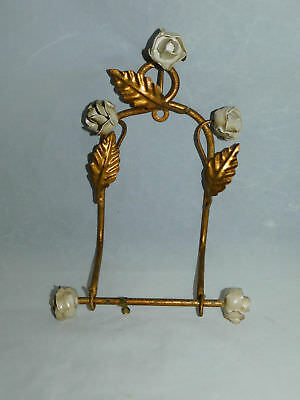 Vtg Italy Italian Gold Metal Tole With White Flowers Toilet Paper Towel Holder