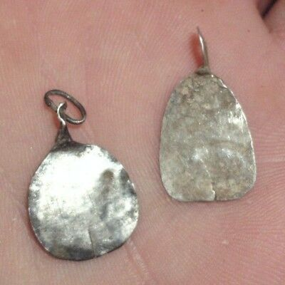 Ancient Celtic Druids Pair Of Silver Amulets / Pendants - 200 Bc - Rare