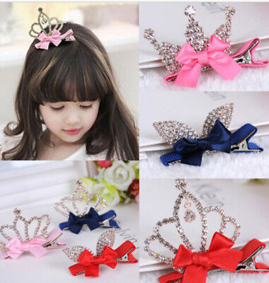Crystal Crown Baby Kids Girls Princess Hair Clip Shiny Rabbit Ears Hair Clip Top