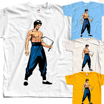 Bruce Lee V7 T-SHIRT (WHITE,BLACK,NATURAL,SKY BLUE) all sizes S to 5XL