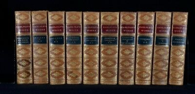 1869-c1920 10Vols Thomas Carlyle Works In Leather Bindings Essays And Histories