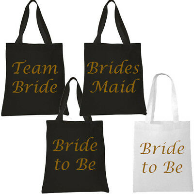 Black With Gold Team Bride Tote Bag Hen Party Present Keepsake Girls Night Out
