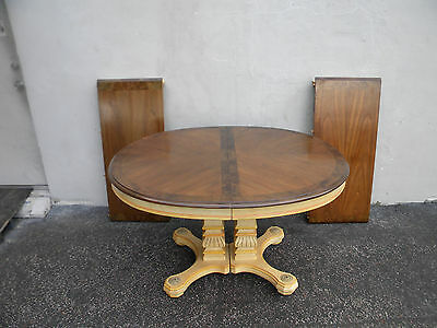 French Painted Inlaid Dining Table with 2 Leaves by Empire Furniture 5719