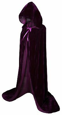 "VGLOOK Full Length Hooded Robe Cloak Long Velvet Cape Cosplay Costume 59"" Pur..."