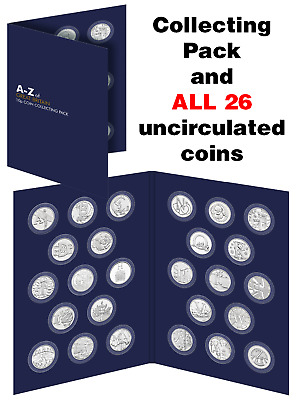 2018 UK A-Z 10p Complete Set - 26 Uncirculated Coins in Collecting Pack Ref:451F