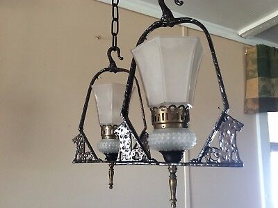 Vintage Pair Hanging Lights With Wolves Hammered 1920s Spanish Revival Virden