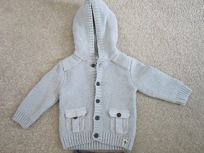 Boys toddler BAKER by Ted Baker Knitted Fleece Lined Grey Jacket 12-18 Months