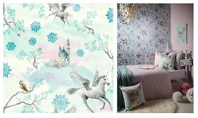 Arthouse Fairytale Ice Blue Unicorn Castle White Wallpaper, 667800 SAMPLE ONLY
