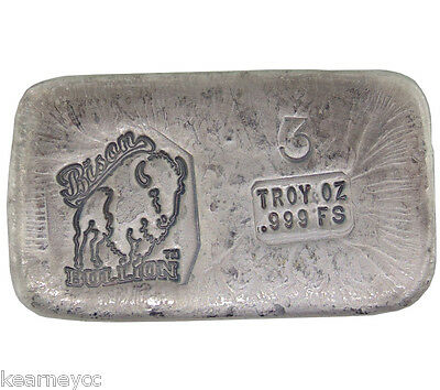 3 Troy Ounce .999 Fine Silver Hand Poured Bison Bullion Standard Bar Nebraska