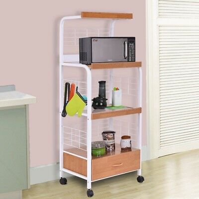 3 Tier Electric Outlet Rolling Cart Microwave Oven Stand Cart Kitchen  Furniture