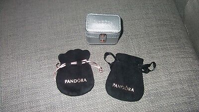 pandora silver ring jewellery box / case holds 4 rings & 2 black pouches