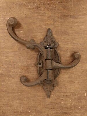 Vintage Cast Iron Wall 3 Tri Hook Swivel Folding Coat Hat Hanger