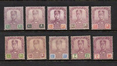 Malaya Johore - Sultan Sir Ibrahim 10 Definitives Mounted Mint - Wmk Unchecked