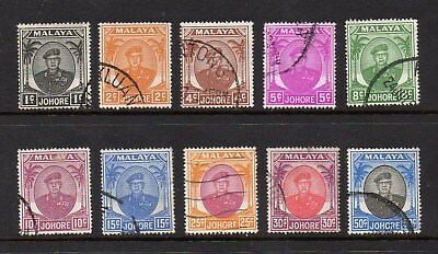 Malaya Johore - 1949 Sultan Sir Ibrahim 10 Different Definitives - Good Used