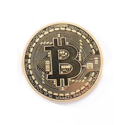 Gold Plated Physical Bitcoins BTC Souvenir Collection Bit Coin With Case Gift
