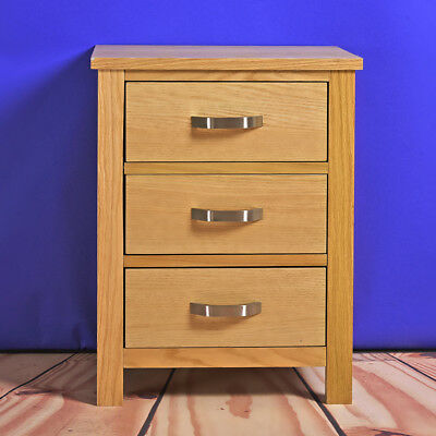 Oak Bedside Cabinet Solid Wood Nightstand Metal Handle Home Bedroom Furniture