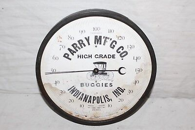 """Vintage 1888 Parry Buggies Indianapolis Gas Oil Farm 9"""" Metal Thermometer Sign"""