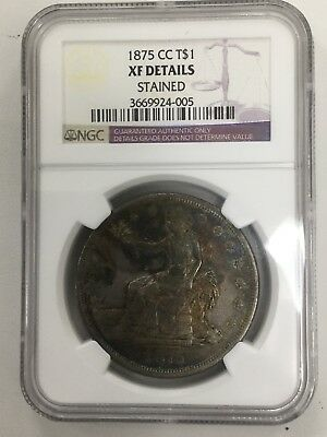 1875-CC Trade Silver Dollar T$1 - NGC VF Details - Rare Carson City Coin Rainbow