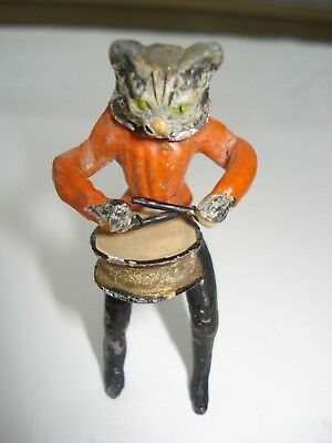 Antique Cold Painted Vienna Bronze Miniature Cat Nodder  With Removable Head