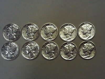 Lot of 10 Super Nice 90% Silver Mercury Dimes! FREE SHIPPING