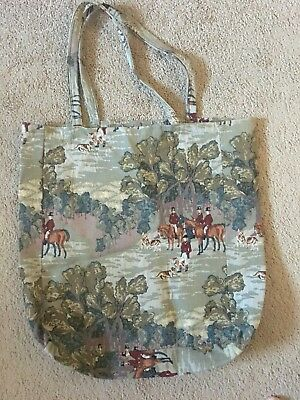 Fox hunt hunt scene tapestry tote bag hand-made gently used