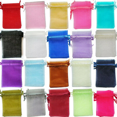 25 /100 Organza Gift Bags Jewellery Pouches Xmas Wedding Party Candy Favour