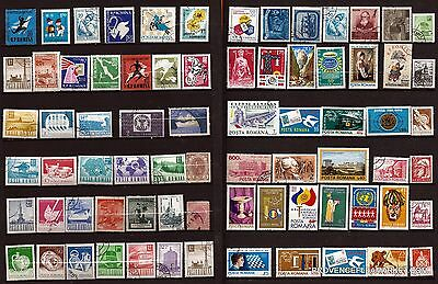 82T4 ROMANIA 74 stamps obliterated:practices current,figures various