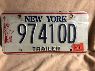 "New York ""Statue of Liberty"" Trailer Metal License Plate 2001 Sticker 97410D"