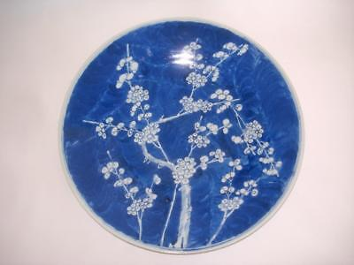 Fine Antique Chinese Porcelain B&w Hawthorne Charger Plate Cherry Blossom 19Th C