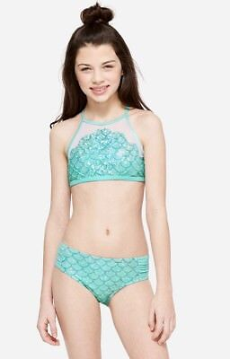 NWT JUSTICE Girls 7 8 10 12 Mint Mesh Mermaid Scale High Neck Bikini Swimsuit