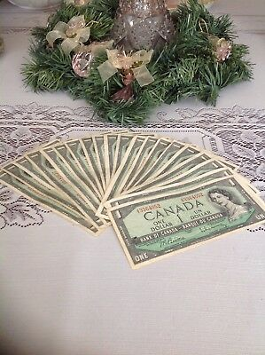 NICE 1954 CANADIAN ONE DOLLAR BANKNOTES - 20 of them