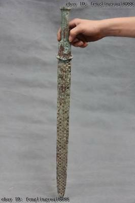 Chinese civil Collection old Bronze silver-gilt Warrior General Knife Sword