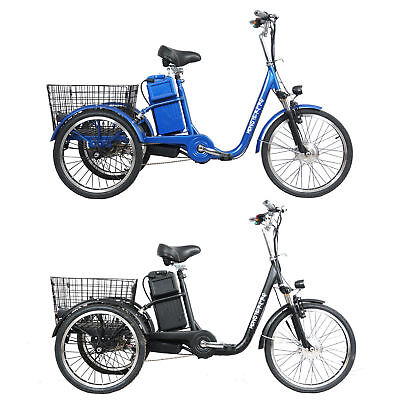 Black/Blue 250w Electric Bike 48V Tricycle Trike eBike Tour City Scooter Bicycle