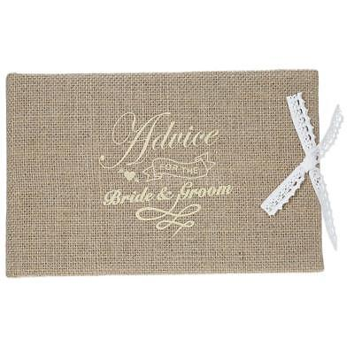 Vintage 72-Pages Burlap Cover Wedding Guest Book Rustic Style Hardcover F5Z8