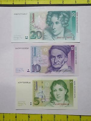 Germany 1991 20 10 5 Deutsche Mark Crisp Old Banknote Currency Collection Lot