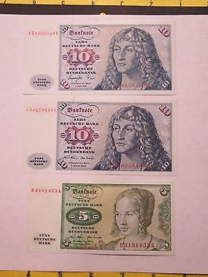 Germany 1977 1970 10 5 Deutsche Mark Crisp Old Banknote Currency Collection Lot