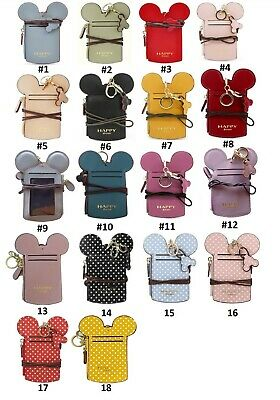 15 Colors MICKEY MOUSE SHAPE NAME ID CARD BADGE HOLDER WALLET PURSE NECK LANYARD