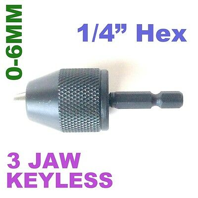 "1 pc Keyless Drill Chuck 0-6mm Cap with Converter 1/4"" Hex  Adapter sct-888"