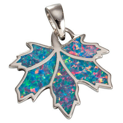 Maple Leaf Teal Blue Fire Opal Silver Jewelry Necklace Pendant