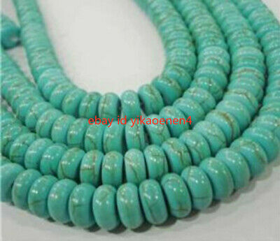 """Natural 5x8mm Turkey Turquoise Rondelle Loose Beads Gemstone 15"""" Strand LS001"""