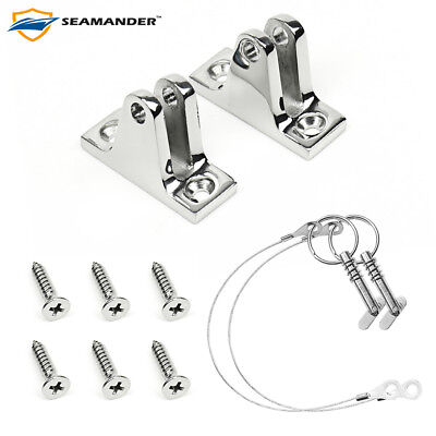 Seamander Stainless Steel Deck Hinge,Deck Mount For Bimini Tops(Angled),1PR