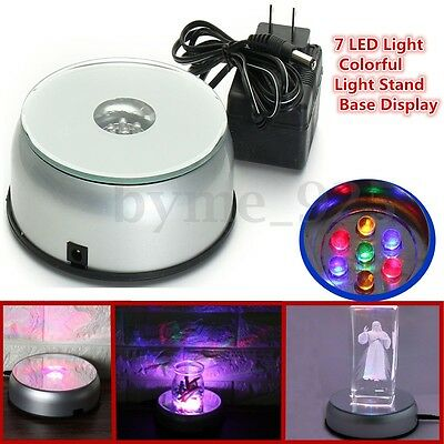 7 LED Colorful Light Unique Rotating Crystal Display Base Stand with AC Adapter
