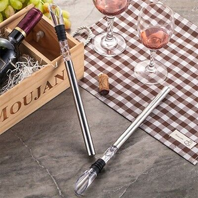 Stainless Steel Wine Chiller Stick Pourer Spout Cooler Cooling Ice Bottle Rod RU