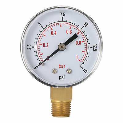 Mini Low Pressure Gauge For Fuel Air Oil Or Water 50mm 0-15 PSI 0-1 Bar OU